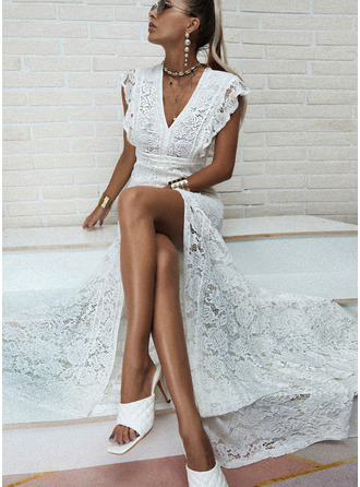 Lace Solid Sheath Cap Sleeve Maxi Party Dresses