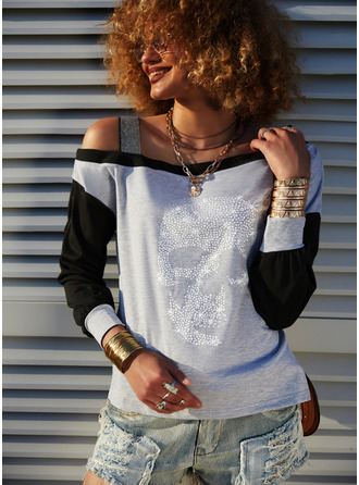 Color Block Sequins One Shoulder Long Sleeves Casual Blouses