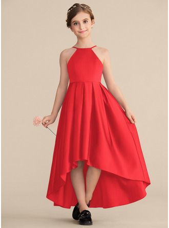 A-Line Scoop Neck Asymmetrical Satin Junior Bridesmaid Dress With Ruffle