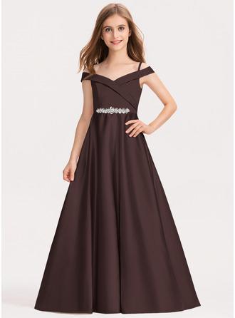 De Baile/Princesa Off-the-ombro Longos Cetim Vestido de daminha júnior