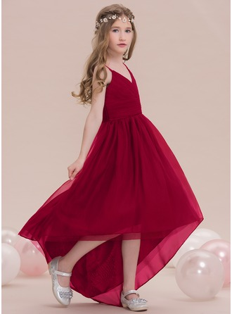 A-Line/Princess V-neck Asymmetrical Tulle Junior Bridesmaid Dress With Ruffle