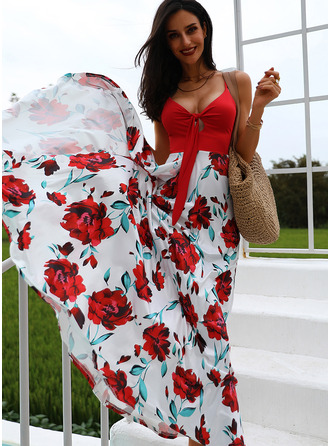 Blommig Print A-linjeklänning Ärmlös Maxi Fritids skater Typ Modeklänningar