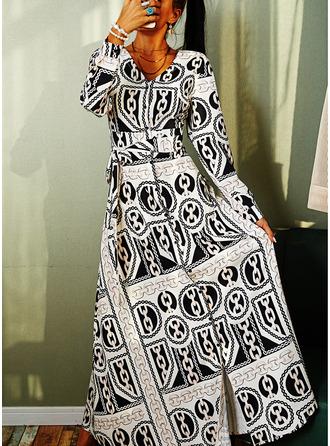 Nadruk Sukienka Trapezowa Długie rękawy Maxi Zabytkowe Łyżwiaż Modne Suknie