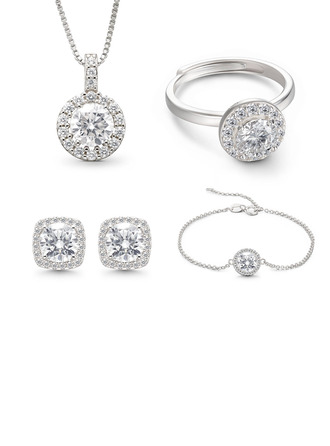 Ladies' Classic 925 Sterling Silver With Round Cut Moissanite Bridal Sets Jewelry Sets For Bride/For Mother/For Her