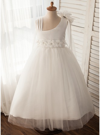 Ball Gown Floor-length Flower Girl Dress - Tulle Sleeveless Straps With Flower(s)