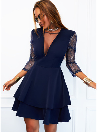 Sequins Solid A-line Long Sleeves Mini Elegant Skater Dresses
