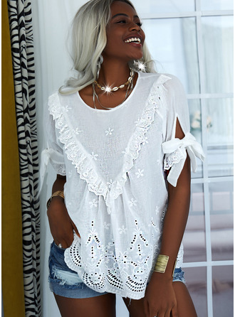 Lace Solid Hollow-out Round Neck Short Sleeves Casual Blouses