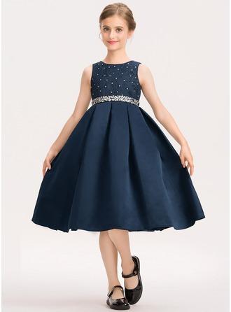 A-Linie U-Ausschnitt Knielang Satin Spitze Kleid für junge Brautjungfern mit Perlstickerei Schleife(n)