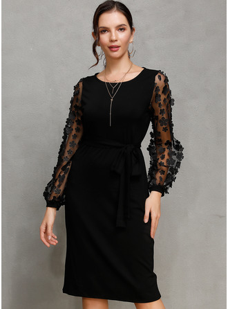 Knee Length Round Neck Polyester/Spandex/Cotton Blends/Chinlon Solid Long Sleeves Fashion Dresses
