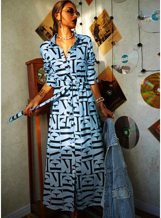 Tisk Do tvaru A Dlouhé rukávy Maxi Neformální Košilové šaty Skaterové Módní šaty