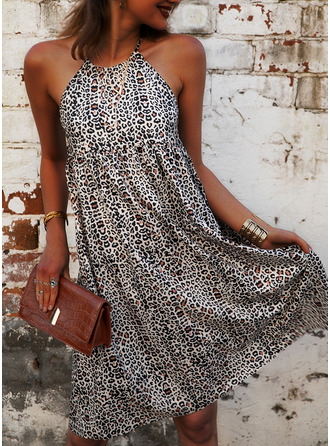 Leopard Print Shift Sleeveless Mini Casual Dresses