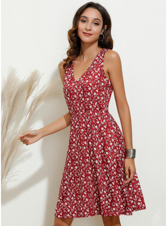 Knee Length V neck Polyester Print Sleeveless Fashion Dresses