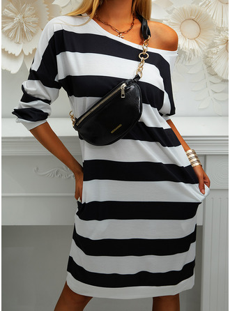 Striped Sheath Long Sleeves Midi Casual Sweatshirt Dresses