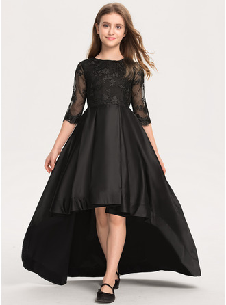 A-Line Scoop Neck Asymmetrical Satin Lace Junior Bridesmaid Dress With Ruffle
