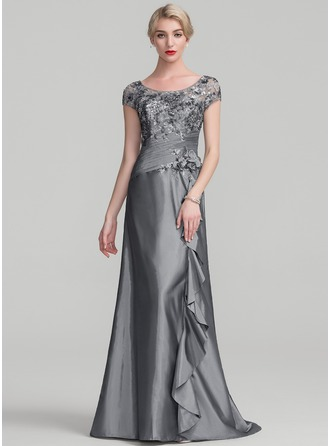 A-Line/Princess Scoop Neck Sweep Train Taffeta Sequined Evening Dress With Beading Flower(s) Sequins Cascading Ruffles