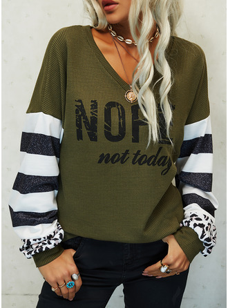Leopard Figure Print Striped V-Neck Long Sleeves Casual Blouses