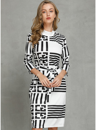 Print Striped Bodycon Long Sleeves Midi Casual Elegant Pencil Dresses