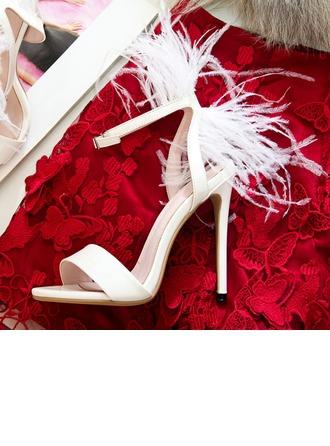 De mujer Piel brillante Tacón stilettos Sandalias con Hebilla Pluma