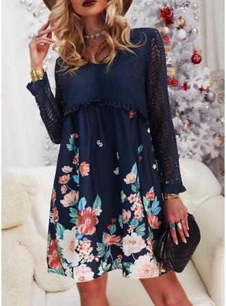 Цветочный кружевной Распечатать Прямые платья Длинные рукова миди Повседневная китель Модные платья
