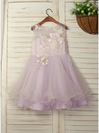 A-Line/Princess Tea-length Flower Girl Dress - Tulle/Lace Sleeveless Scoop Neck With Flower(s)