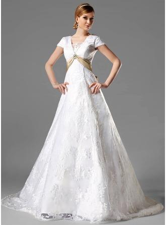 Corte A/Princesa Escote Cuadrado Cola capilla Encaje Vestido de novia con Fajas Alfiler Flor Cristal Lazo(s)