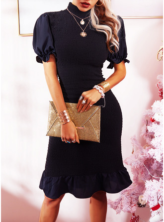 Solid Bodycon Puff Sleeves Short Sleeves Midi Little Black Elegant Pencil Dresses