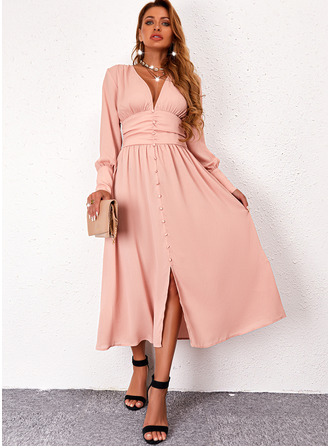 Solid A-line Long Sleeves Midi Casual Skater Dresses