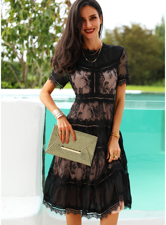 Lace Solid A-line Short Sleeves Midi Little Black Party Skater Dresses