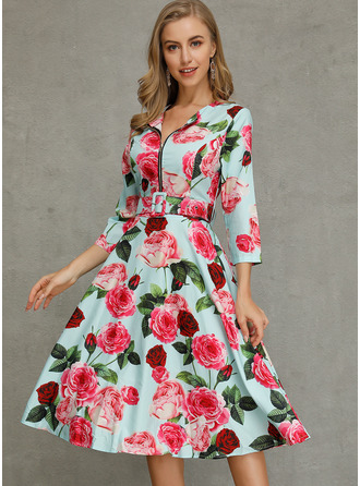 Floral A-line 1/2 Sleeves Midi Casual Skater Dresses