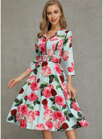 Blommig A-linjeklänning 1/2 ärmar Midi Fritids skater Modeklänningar