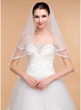 Einschichtig Band Rand Ellenbogen Braut Schleier mit Band