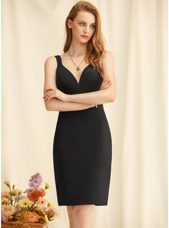 Sheath V-Neck Sleeveless Midi Back Details Sexy Dresses