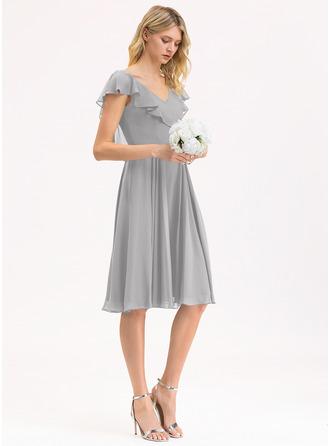 Трапеция V-образный Длина до колен шифон Платье Подружки Невесты с Ниспадающие оборки