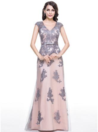Trompete/Meerjungfrau-Linie V-Ausschnitt Bodenlang Tüll Abendkleid mit Perlen verziert Applikationen Spitze Pailletten Schleife(n)