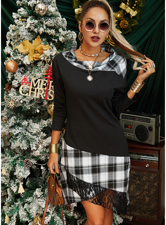 Plaid A-line Long Sleeves Asymmetrical Casual Dresses