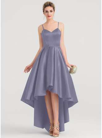 A-Line V-neck Asymmetrical Satin Evening Dress