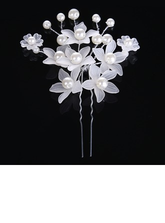Ladies Glamourous Alloy/Imitation Pearls Hairpins (Sold in single piece)