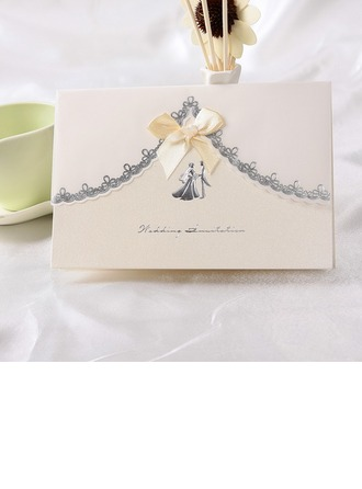 Gelin & Damat Stil Top Katlama Invitation Cards Ile Saten Kurdele
