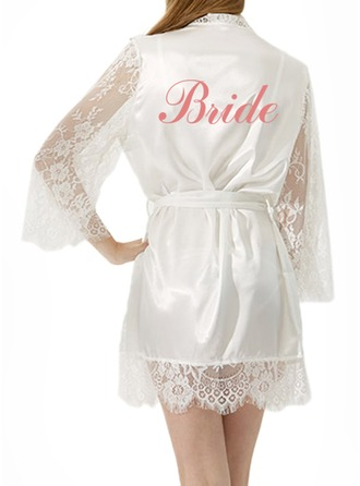 Personalized Bride Satin Lace With Short Personalized Robes Satin & Lace Robes