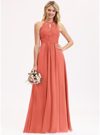 A-Line Scoop Neck Floor-Length Chiffon Lace Evening Dress