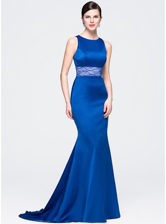 Trumpet/Mermaid Scoop Neck Court Train Satin Lace Evening Dress