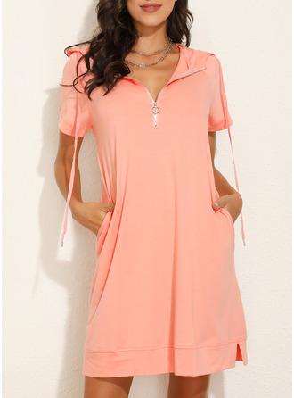 Solid Shift Short Sleeves Midi Casual Vacation Sweatshirt Dresses
