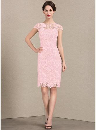 Etui-Linie U-Ausschnitt Knielang Spitze Kleid für die Brautmutter
