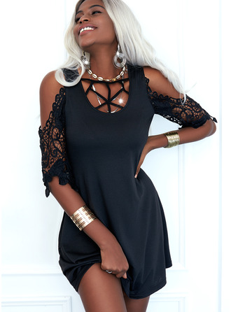 Lace Solid Shift 1/2 Sleeves Mini Little Black Casual Tunic Dresses