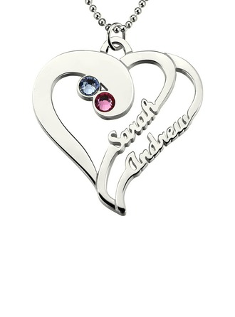 Individualisiert Damen Ewige Liebe 925 Sterlingsilber mit Runde Zirkonia Name Halsketten Ihr/Blume Mädchen