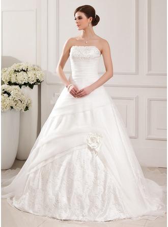 Balklänning Axelbandslös Chapel släp Organzapåse Bröllopsklänning med Spetsar Pärlbrodering