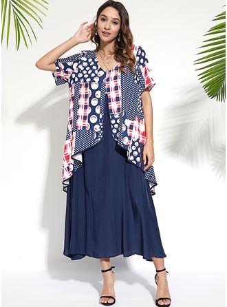 Tisk Šaty Shift Krátké rukávy Maxi Neformální Módní šaty
