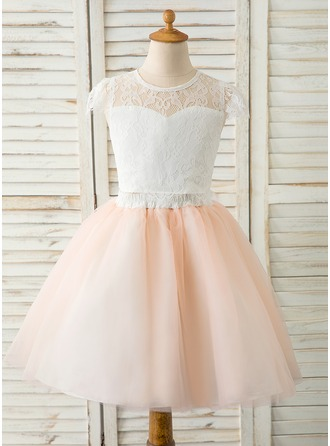 Áčkové Šaty Po kolena Flower Girl Dress - Tyl/Krajka Bez rukávů Scoop Neck