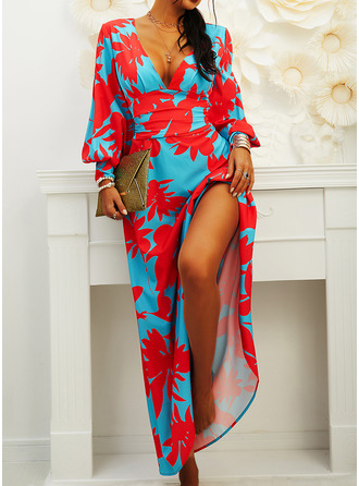 Floral Print Sheath Lantern Sleeve Long Sleeves Maxi Party Elegant Dresses