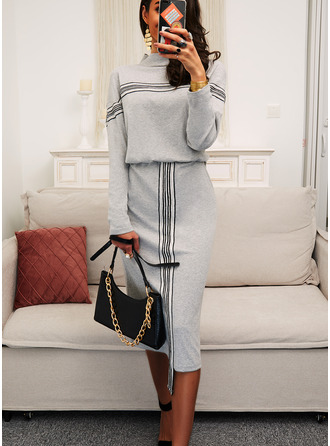 Sequins Striped Bodycon Long Sleeves Midi Casual Dresses